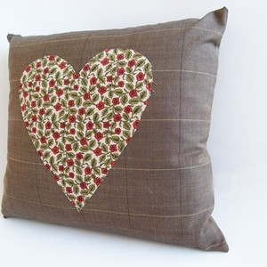 Brown heart pillow