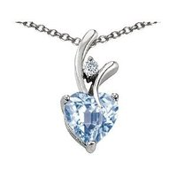 Sterling Silver White Gold Plated Aquamarine Pendant