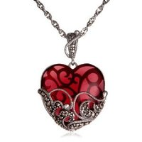 Sterling Silver Marcasite and Glass Heart Pendant