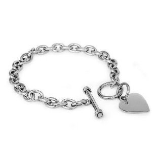 Engravable Heart Toggle Tag Bracelet