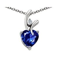 Silver and White Gold Plated Sapphire Pendant