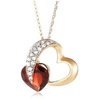 Yellow Gold Diamond and Garnet Heart Pendant