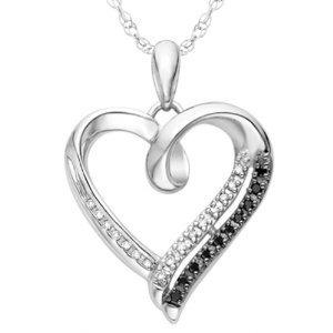 Black and White Round Diamond Pendant