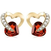 Yellow Gold Diamond and Garnet Earrings