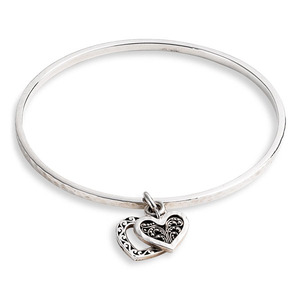 Double Hearts Charm Bangle