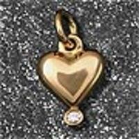 Guldhjärta med diamant