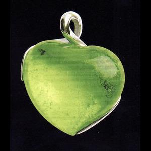 Halsbandsmycke med olivgrönt hjärta(modell större)