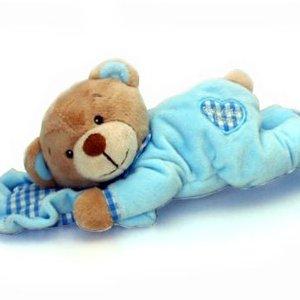 Blå nalle med kudde