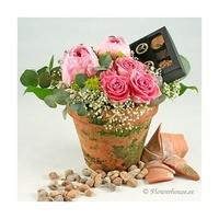Blompaket med lyxig choklad