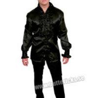 Svart satinskjorta för män