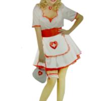 Sexig plus sized sjuksköterskedräkt