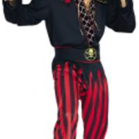 Häftig piratdräkt i rött och svart för honom