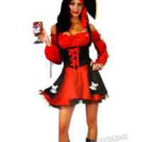 Sexig piratdräkt i rött och svart