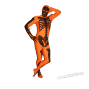 Orange Morphsuit med skelettmotiv