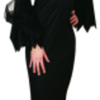 Morticia Addams-inspirerad klänning i svart