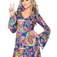 Färgglad retro-klänning