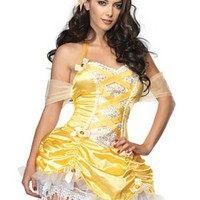 Sexig, gul sago-inspirerad klänning