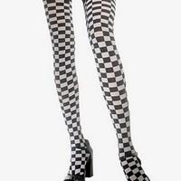 Rutiga stockings i svart och vitt