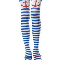 Söta stockings i blått och vitt