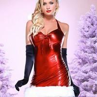 Sexig, glansig julklänning
