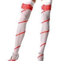 Sockersöta stockings med rosettmönster