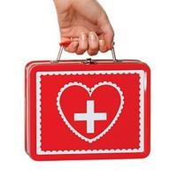 Röd, sexig första hjälpen-väska för sjuksköterskan