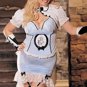 Sexig, plus sized Alice i Underlandet-dräkt