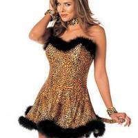 Sexig leopard-klänning