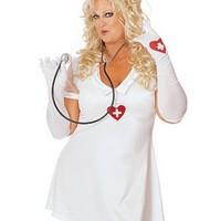 Sexig, plus sized sjuksköterska-dräkt