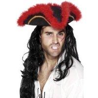 Tricorn pirat hatt röd fjäder